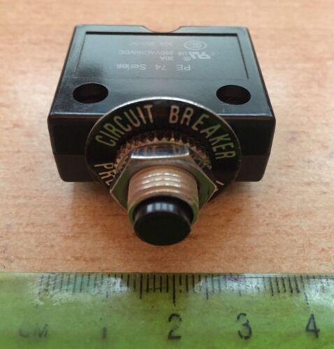 Panel Mount Circuit Breaker   30A  250V    35 x 14.6 x 31mm     NEW      Z1932