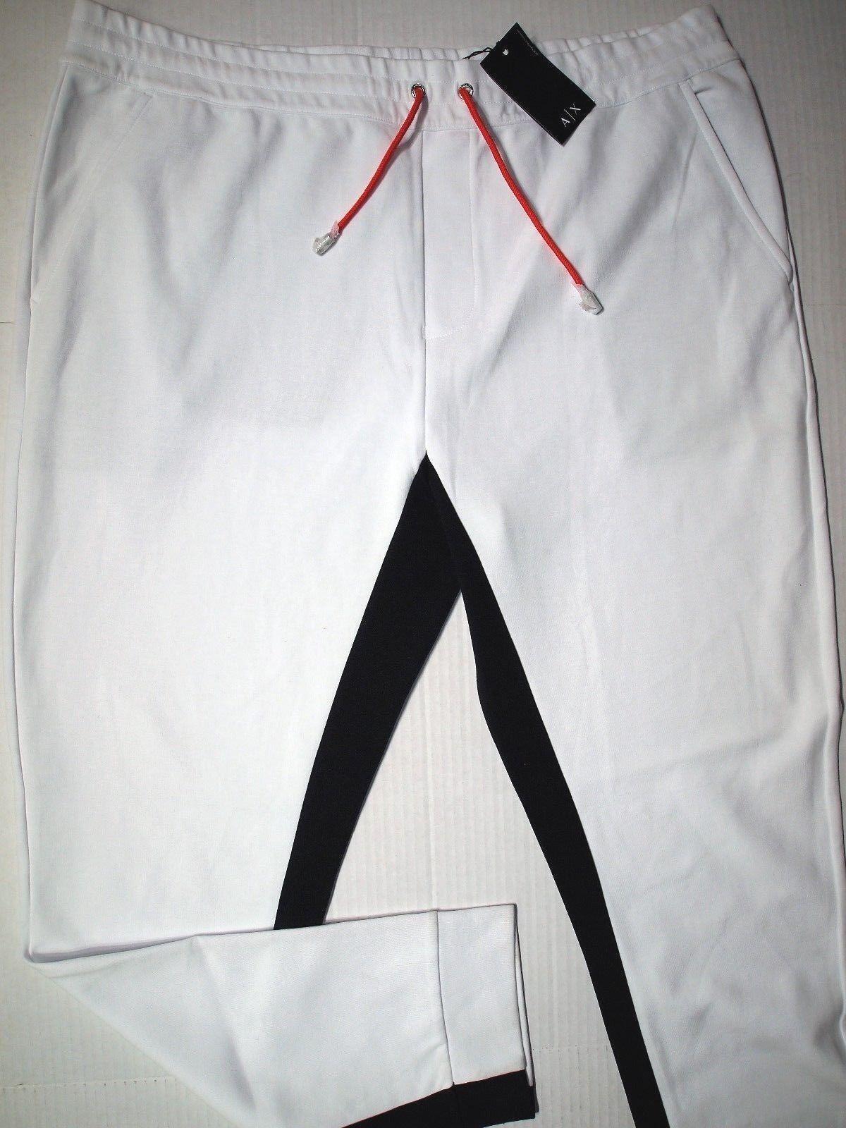 Armani Exchange men's drawstring jogger interior trim pipe size xxl color white