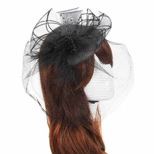 Fascinator Schleier Blume Perlen Feder Burlesque Gothic Haarspange// Haarreif