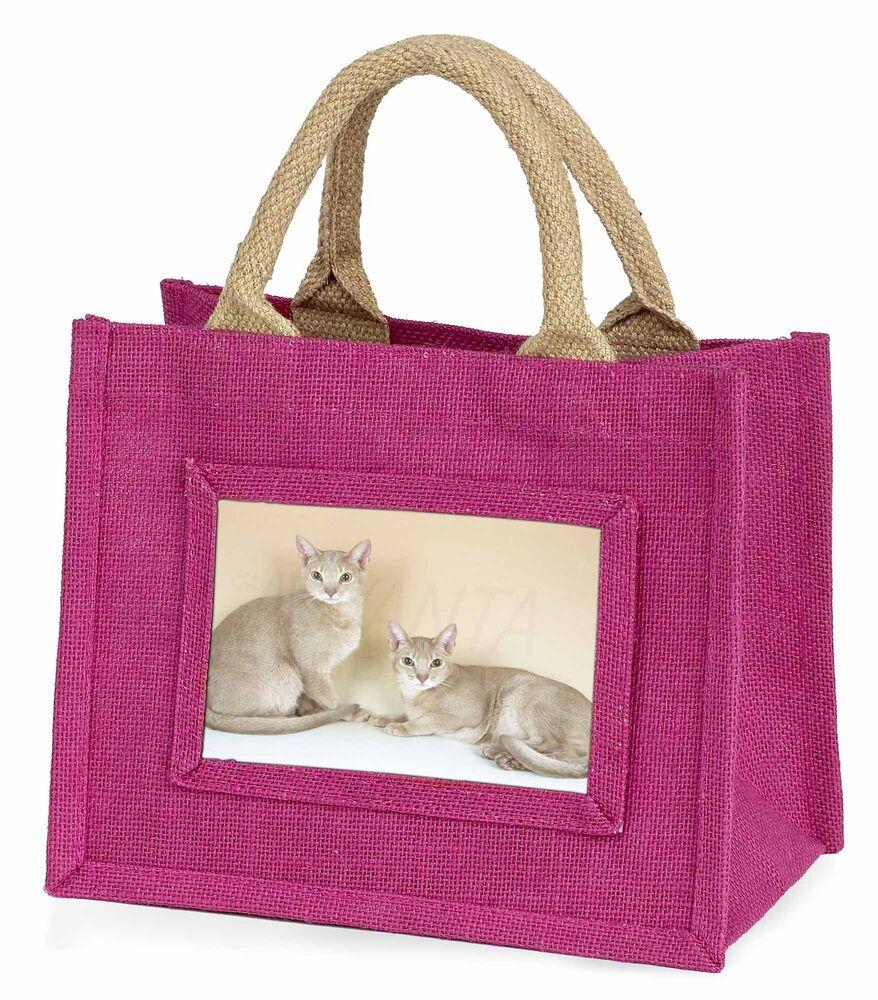 Prix Pas Cher Two Abyssynian Cats Little Girls Small Pink Shopping Bag Christmas Gif, Ac-27bmp CoûT ModéRé