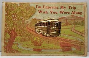 Enjoying-My-Trip-Unique-Applied-Trolley-Car-1910-To-Douglas-ND-Postcard-D9