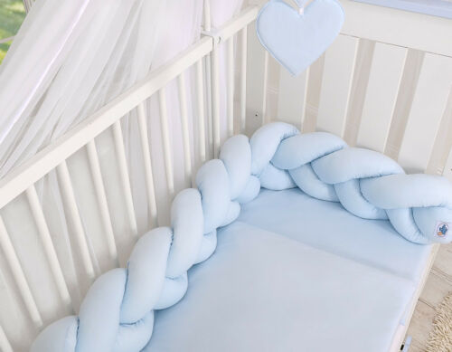 Geflochtenes Nestchen Kopfschutz für Kinderbett Farbe uni blau Länge 180cm