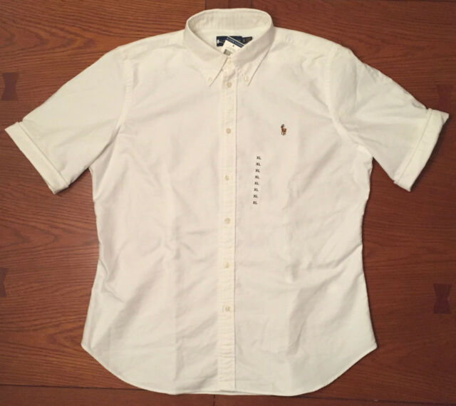 WHITE All Sizes Polo Ralph Lauren Oxford Short Sleeve Shirt