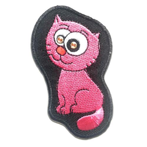 Aufnäher // Bügelbild Katze Kinder Tier 4.6 x 8 cm pink