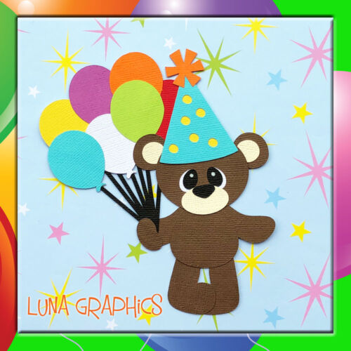 BIRTHDAY BALLOON BEAR ORANGE Paper Piecing card toppers and scrapbooking