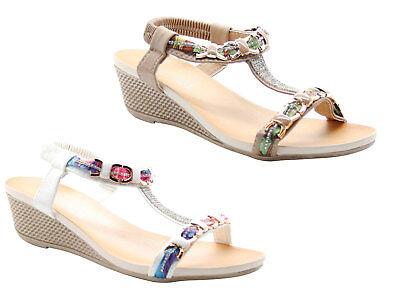 Ladies Wedge Sandals Diamante Back Strap Women Casual Shoes Mules