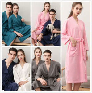 9bf8d6e530 Details about HOT Women Cotton Waffle Bath Robe Suck Sweat Kimono Bathrobe  Summer Nightgowns