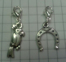 "TIBETAN SILVER 2 CHARMS"" PARROT+HORSE SHOE,FOR CHARM BRACELET OR  TINY PURSES"