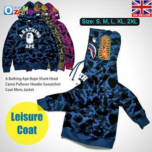 193765cfb68 A Bathing Ape Bape Shark Head Camo Pullover Hoodie Sweatshirt Coat ...