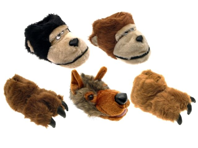 MENS LADIES GIRLS BOYS NOVELTY SLIPPERS BOOTS MONKEY CLAW WOLF XMAS SIZE UK 7-12