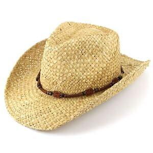 Straw Cowboy Hat Hawkins Cap Sun Mens Womens Band Ladies Fedora ... 984cd87eccf9