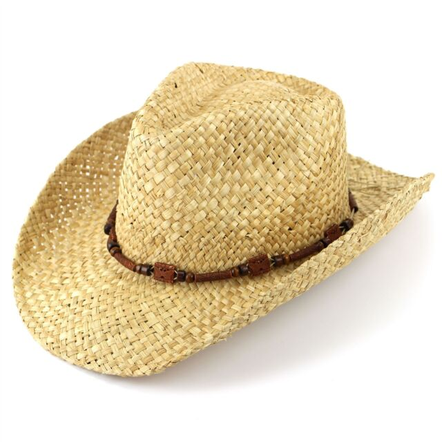 Straw Cowboy Hat Hawkins Cap Sun Mens Womens Band Ladies Fedora Summer