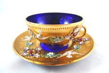 Antique Italian Cobalt Blue Glass and Gold Teacup & Saucer Ornate Relief Design