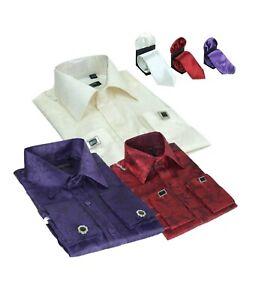 Garcons-a-Manches-Longues-Col-Classique-Boutons-de-Manchette-Ivoire-Violet-Bordeaux-Paisley-Shirts
