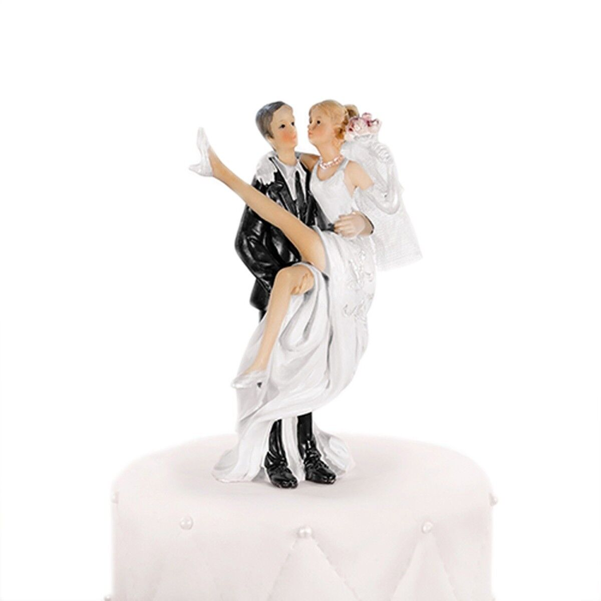 Groom Carrying Bride Over The Shoulder Cake Topper 15cm Tall XP070