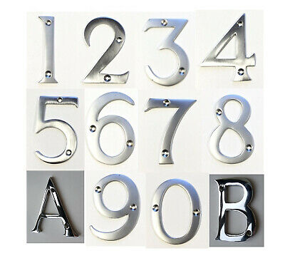 """3/"""" FRONT DOOR LETTER A Polished Chrome Letter Box Apartment House Name Number UK"""