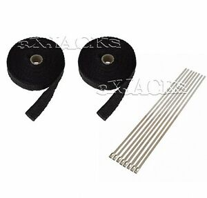 2 Fiberglass Motorcycle Exhaust Pipe Wrap Thermo Tape Kit