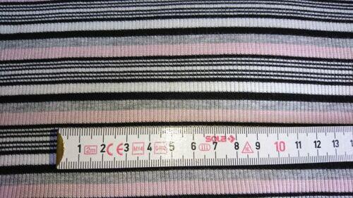 Viskose Rippstoff Bündchen Meterware rosa weiß grau Stripes gestreift 8€//m