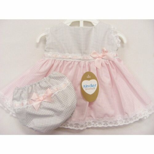 KINDER Boutique ROSA//GRIGIO APERTO INDIETRO Check BABY GIRL/'S DRESS /& Knicks 1115