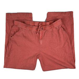 Eddie-Bauer-Women-Large-Drawstring-Cotton-Ribbed-Lounge-Pants-Straight-Leg-Coral