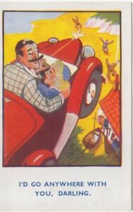 Comic-Car-postcard-Courting-couple-William-Foster-Ref-55