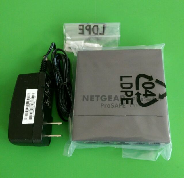 NetGear Prosafe GS105Ev2 5-Port Gigabit Ethernet Plus Switch GS105E-2A1NAS New