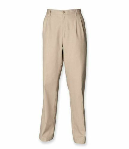 SIZES 30-44 Front Pleat Chino Trousers with Stain Resistant Coating Henbury