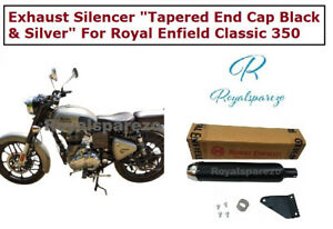 """Exhaust Silencer """"Tapered End Cap  Black & Silver """"For Royal Enfield Classic 350"""