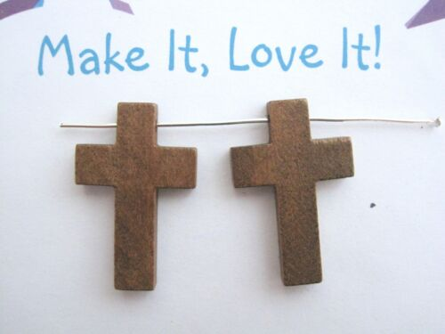 2 x BROWN WOODEN CROSS CHARMS 34mm x 22mm Pendant Wood Gothic