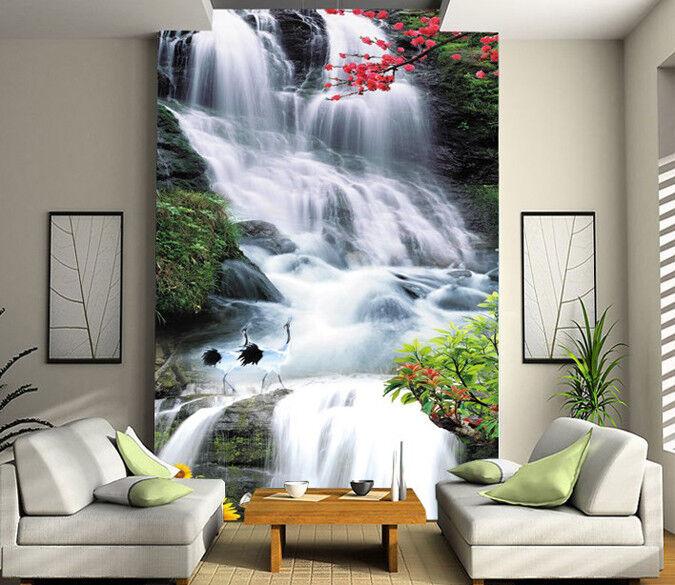 3D Wasserfall bluemen 433 Tapete Tapeten Mauer Foto Familie Tapete Wandgemälde