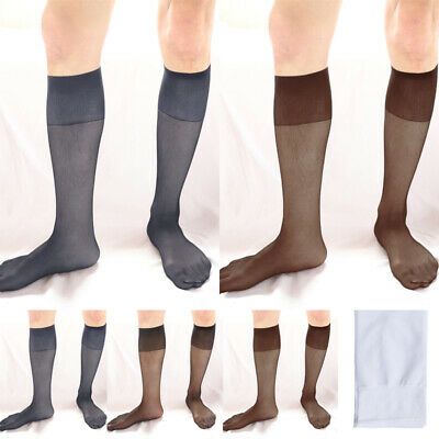 Mens Elastic High Socks See-through Thin Breathable Club Costume Dance Stockings