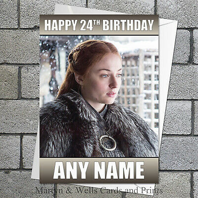 g018; Large personalised BIRTHDAY CARD Made with any name /& age; Game of Thrones