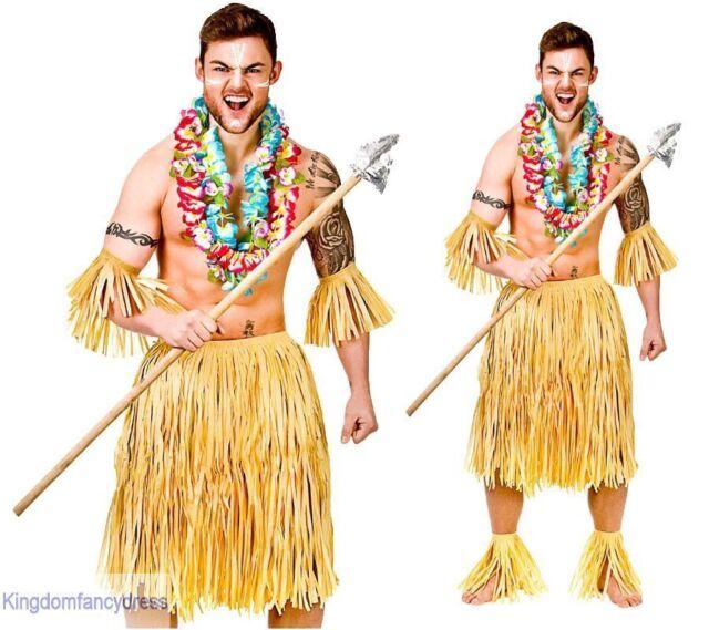 f51ef0211 Adult Mens Hawaiian Party Guy Zulu Warrior 5 Piece Fancy Dress Costume One  Size