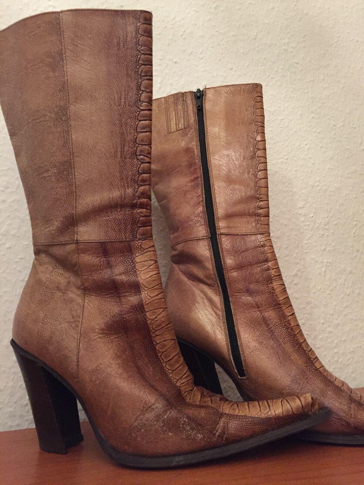 Stiefeletten, Blockabsatz, Leder, Größe 38, Gebraucht