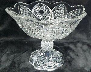 "MINT Vintage Pressed Glass HEAVY Crystal Pedestal Centerpiece/Compote Bowl 8.5"""