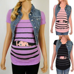 Maternity-Cute-Funny-Baby-Print-Striped-Short-Sleeve-T-shirt-Pregnant-Tops