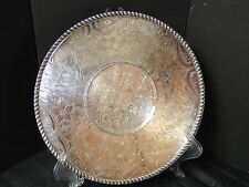"Silver Tray Engraved Academy Silverplate 10.5"" diameter Plate Bright Cut"