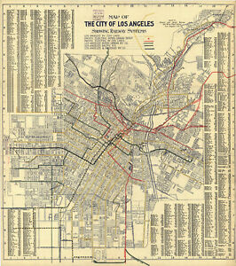 1906-Transit-Map-L-A-Los-Angeles-Streetcars-Railway-Vintage-Wall-Art-Poster