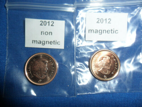 2012 Canadian Penny 1 Magnetic /& 1 non magnetic from RCM AVFES LAST YEAR