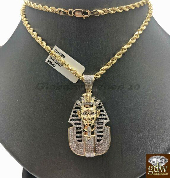 10k Gold Seil Kette Mit Anhänger, Pharao Kopf In Verschiedene Länge, Men