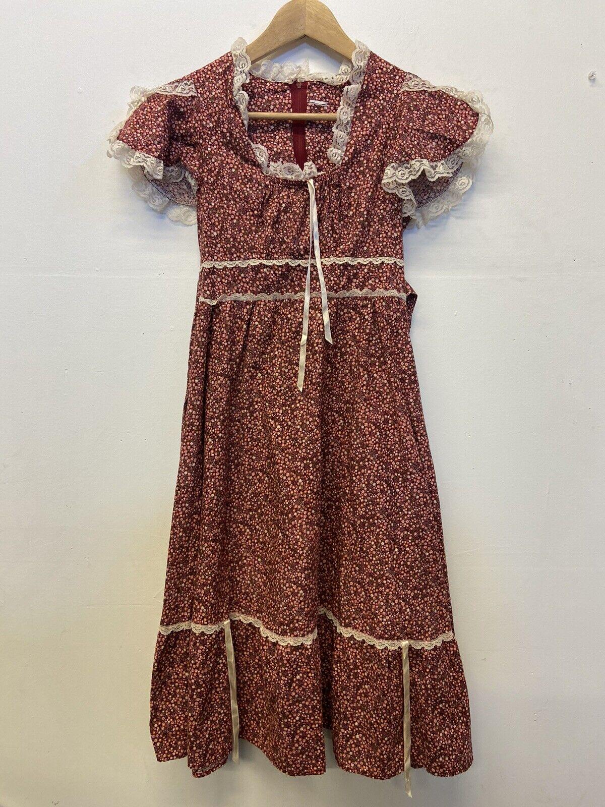 Vtg 70s Cottagecore Gunne Sax Style Floral Lace  … - image 1