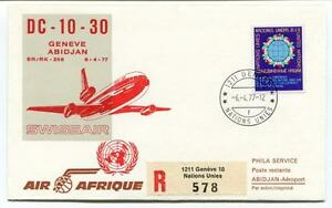 Simple Ffc 1977 Air Afrique Special Flight Geneve Abidjan Registered Swissair Onu Emballage Fort