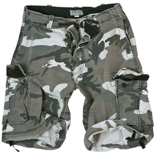 Mens Washed Cargo Surplus Camo Military Combat Style Vintage Urban Shorts Cotton fqqaX0w