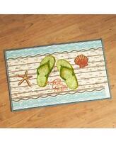 Flip Flop Beach Sandal Tropical Seaside Bathroom Floor Mat Rug Seashells