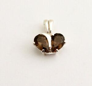 Classy Smoky Quartz Pendant 925 Silver Gems Heart-Shaped Gift