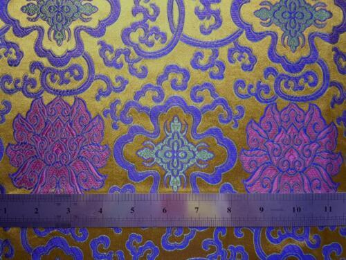 Faux Silk Brocade Jacquard Damask Kimono Fabric Material BL2 Fortune Flower