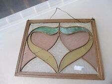 Vintage Stained Glass Window Hanger Panel Copper Frame Art Nouveau Antique Old