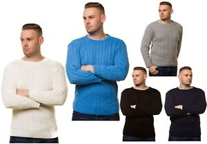 New-Men-s-Chunky-Cable-Knit-Pullover-Jumper-Thick-Worm-Winter-Sweater