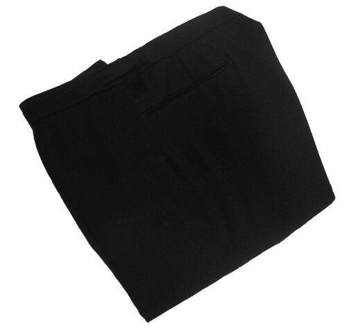 Pantaloni Lana Nero Herringbone Girovita 40  interno Gamba-incompiuto