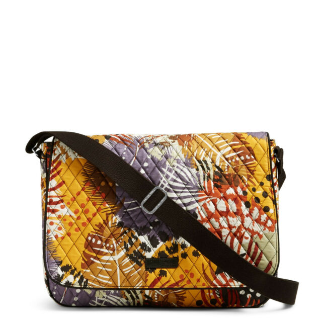 Vera Bradley Laptop Messenger Crossbody Bag Painted Feathers NWT MSRP  88 73b3678d4bbc0